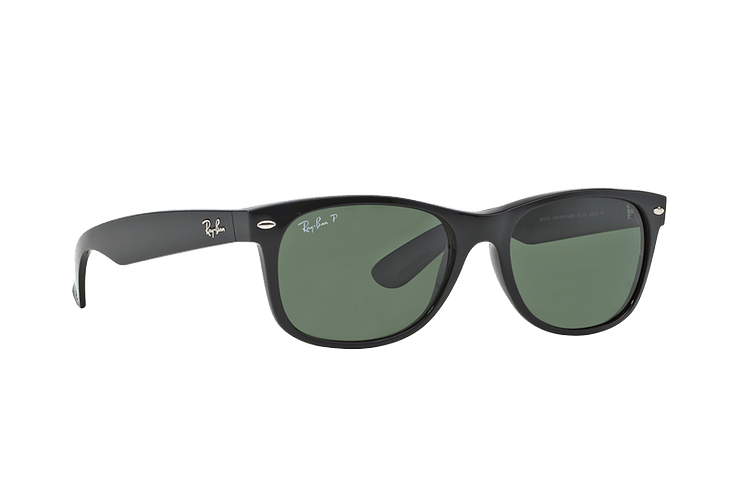 Ray Ban New Wayfarer Black lente Crystal Green Polarized cod. RB2132 901/58 55 - Image 11