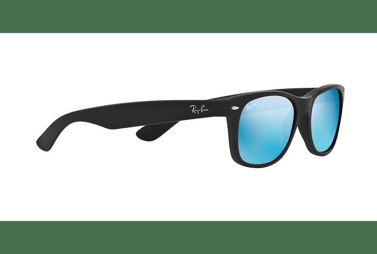 Ray Ban New Wayfarer Rubber Black lente Blue Mirror cod. RB2132 622/17 55 - Image 10