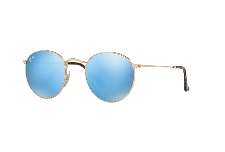 Ray Ban Round Metal Shiny Gold lente Light Blue Flash cod. RB3447N 001/9O 50 - Image 1