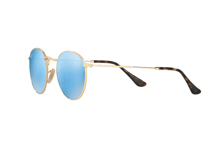 Ray Ban Round Metal Shiny Gold lente Light Blue Flash cod. RB3447N 001/9O 50 - Image 2