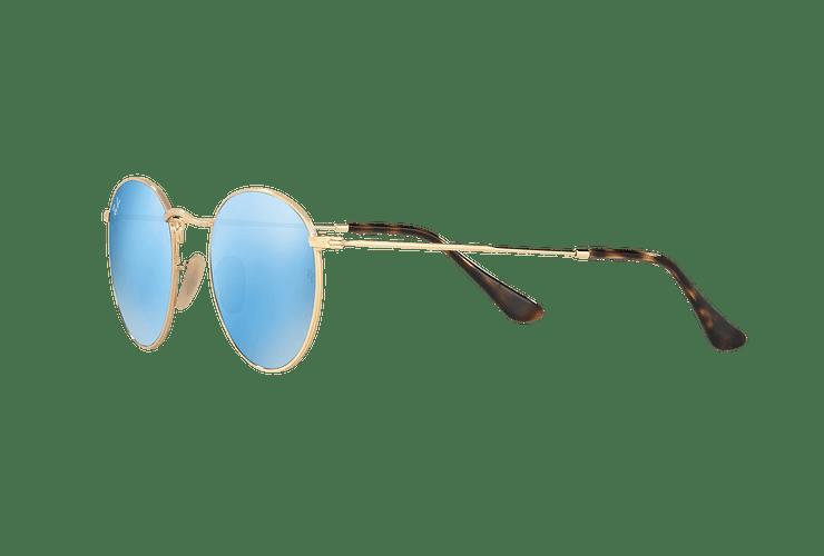 Ray-Ban Round Metal Shiny Gold lente Light Blue Flash cod. RB3447N 001/9O 50 - Image 2