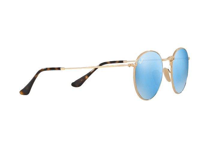 Ray Ban Round Metal Shiny Gold lente Light Blue Flash cod. RB3447N 001/9O 50 - Image 10