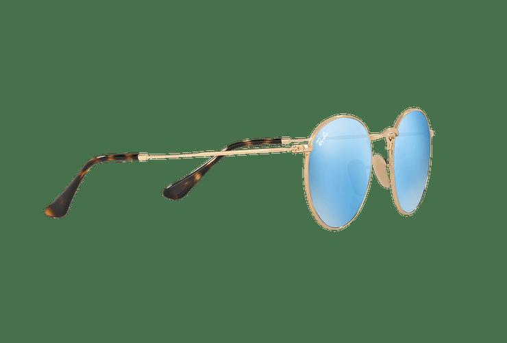 Ray Ban Round Metal Shiny Gold lente Light Blue Flash cod. RB3447N 001/9O 50 - Image 10