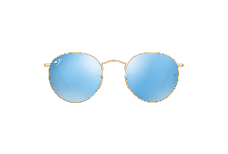 Ray Ban Round Metal Shiny Gold lente Light Blue Flash cod. RB3447N 001/9O 50 - Image 12