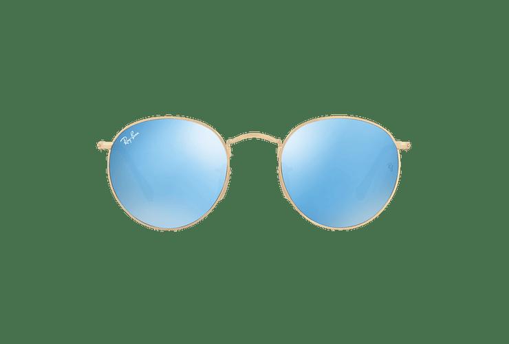 Ray Ban Round Metal Shiny Gold lente Light Blue Flash cod. RB3447N 001/9O 50 - Image 12