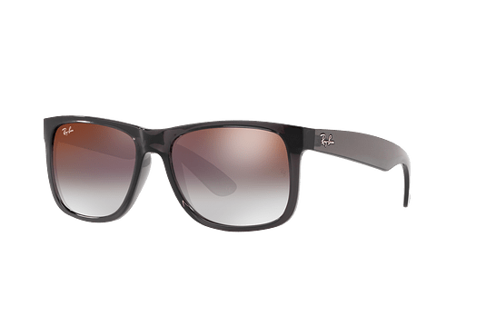 Ray Ban Justin Trasparent Grey lente Gradient Mirror Red cod. RB4165 606/U0 54