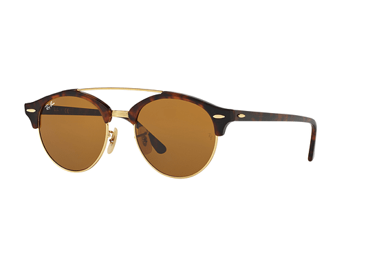 Ray Ban Clubround Double Bridge Shiny red havana lente Brown cod. RB4346 990/33 51