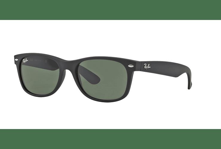 Ray Ban New Wayfarer Black Rubber lente Crystal Green cod. RB2132 622 52 - Image 1