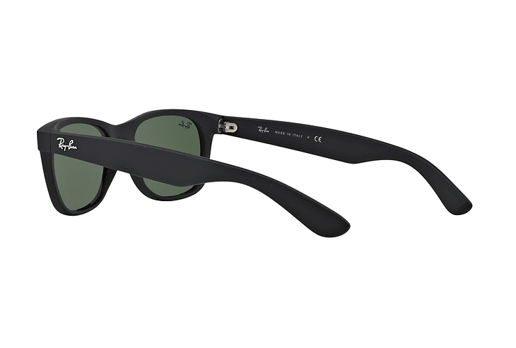 Ray Ban New Wayfarer Black Rubber lente Crystal Green cod. RB2132 622 55 - Image 4
