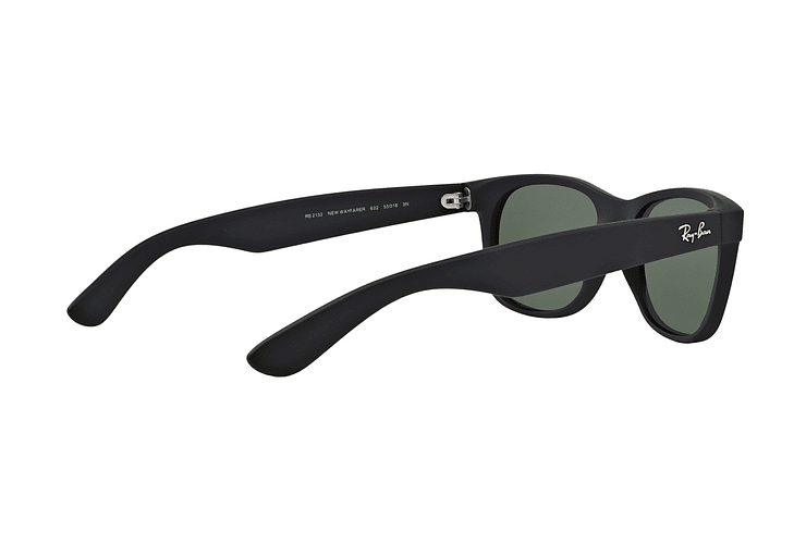 Ray Ban New Wayfarer Black Rubber lente Crystal Green cod. RB2132 622 52 - Image 8