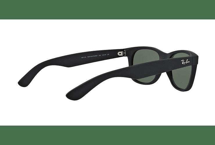 Ray Ban New Wayfarer Black Rubber lente Crystal Green cod. RB2132 622 52 - Image 8