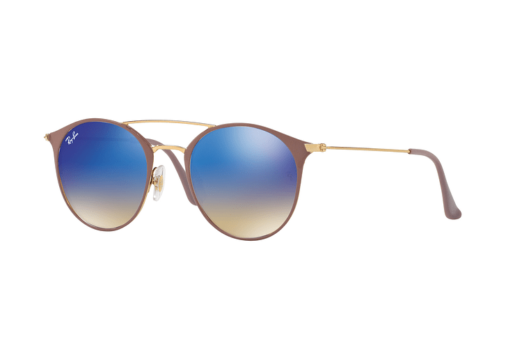 Ray-Ban Round RB3546 Gold Top Beige lente Blue Flash Gradient cod. RB3546 90118B 49 - Image 1