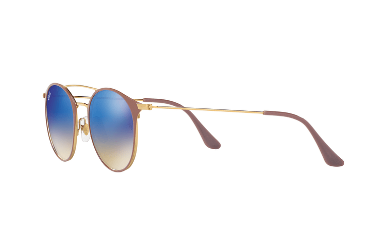 Ray-Ban Round RB3546 Gold Top Beige lente Blue Flash Gradient cod. RB3546 90118B 49 - Image 2
