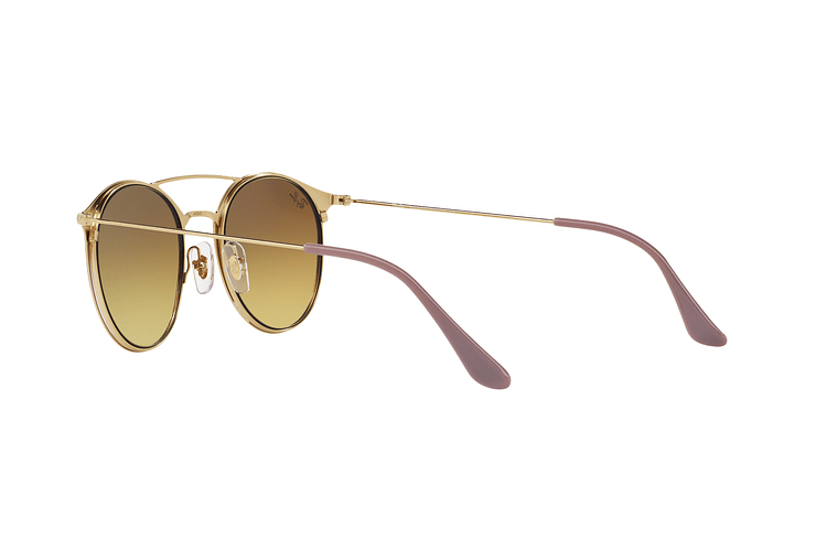 Ray-Ban Round RB3546 Gold Top Beige lente Blue Flash Gradient cod. RB3546 90118B 49 - Image 4