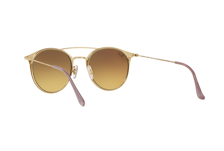 Ray-Ban Round RB3546 Gold Top Beige lente Blue Flash Gradient cod. RB3546 90118B 49 - Image 5