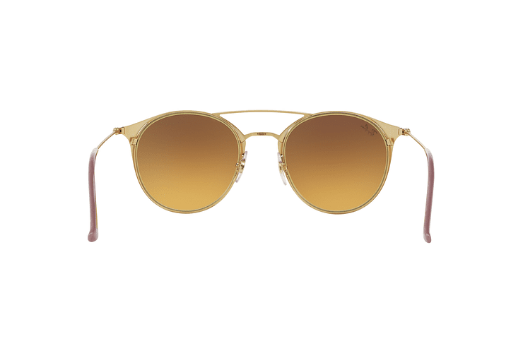 Ray-Ban Round RB3546 Gold Top Beige lente Blue Flash Gradient cod. RB3546 90118B 49 - Image 6
