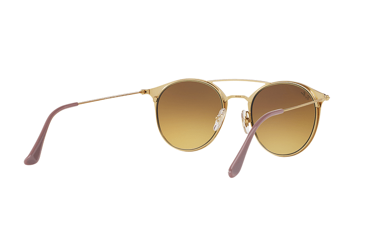 Ray-Ban Round RB3546 Gold Top Beige lente Blue Flash Gradient cod. RB3546 90118B 49 - Image 7