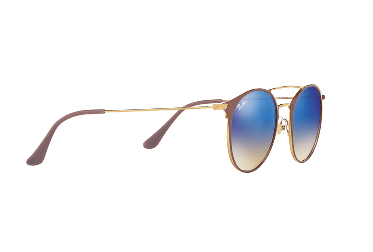 Ray-Ban Round RB3546 Gold Top Beige lente Blue Flash Gradient cod. RB3546 90118B 49 - Image 10