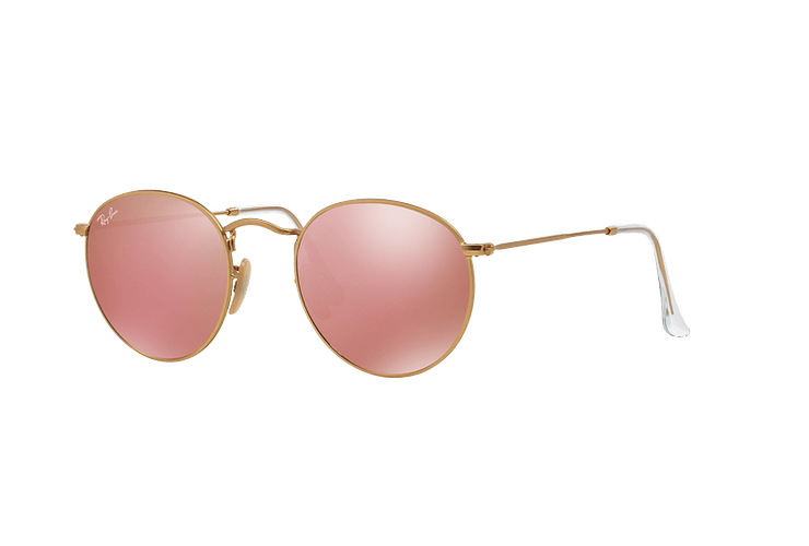 Ray Ban Round Metal Matte Gold lente Brown Mirror Pink cod. RB3447 112/Z2 50 - Image 1