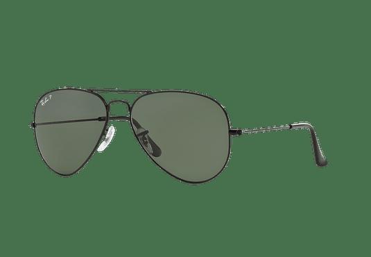 Ray Ban Aviador Black lente Crystal Green Polarized cod. RB3025 002/58 58