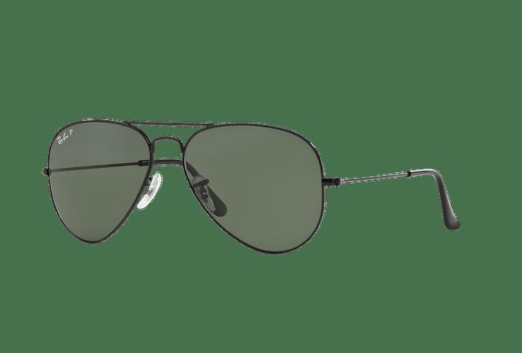 Ray Ban Aviador Black lente Crystal Green Polarized cod. RB3025 002/58 58 - Image 1