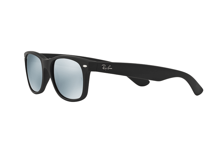 Ray Ban New Wayfarer Rubber Black lente Mirror Silver cod. RB2132 622/30 55 - Image 2