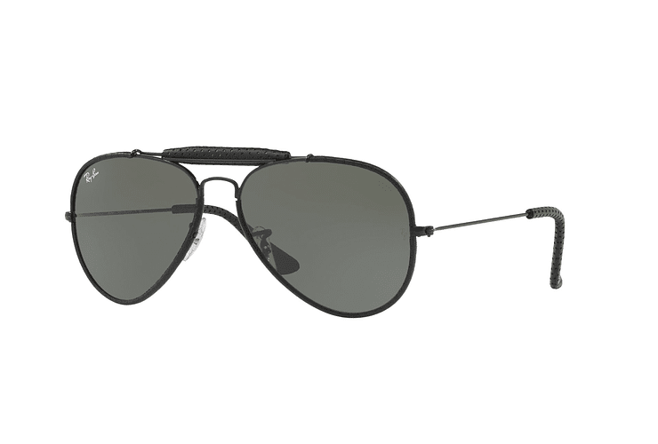 Ray Ban Outdoorsman Craft Leather Black lente Green cod. RB3422Q 9040 58 - Image 1