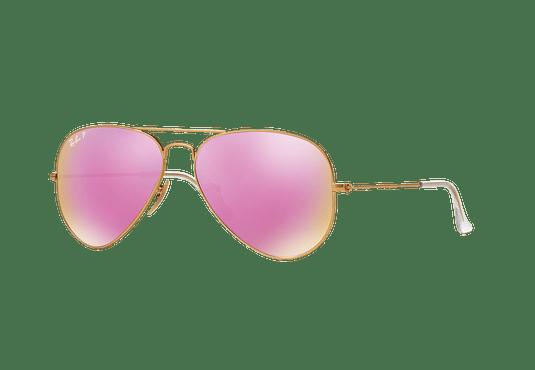 Ray Ban Aviador Matte Gold lente Mirror Fucsia Polarized cod. RB3025 112/1Q 58