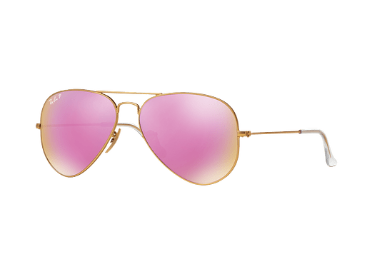 Ray Ban Aviador Matte Gold lente Mirror Fucsia Polarized cod. RB3025 112/1Q 58