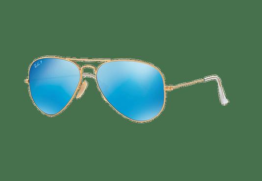 Ray Ban Aviador Matte Gold lente Blue Mirror Polarized cod. RB3025 112/4L 58