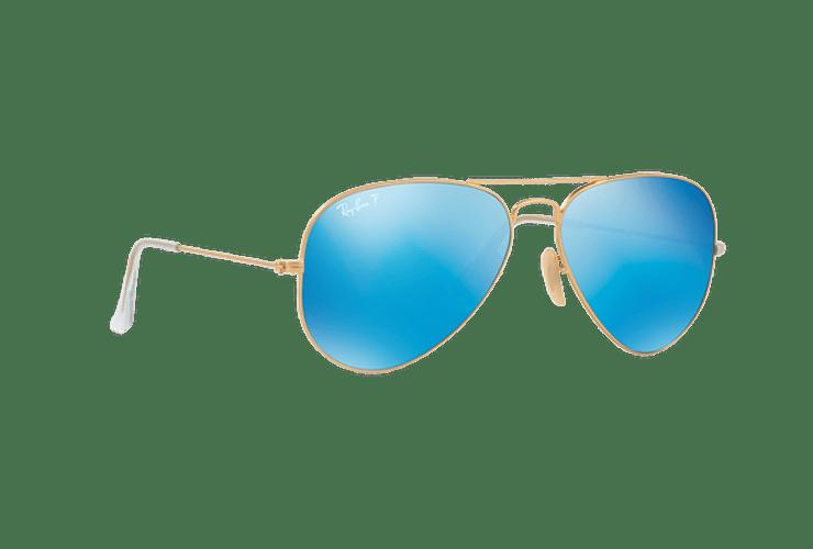 Ray Ban Aviador Matte Gold lente Blue Mirror Polarized cod. RB3025 112/4L 58 - Image 11