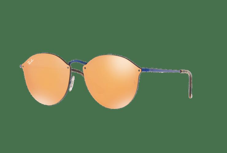 Ray Ban Blaze Round Blue lente Dark Orange Mirror Gold cod. RB3574N 90387J 59 - Image 1