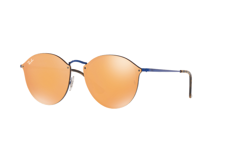Ray Ban Blaze Round Blue lente Dark Orange Mirror Gold cod. RB3574N 90387J 59 - Image 1