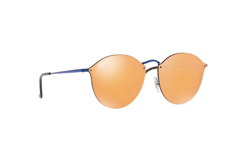 Ray Ban Blaze Round Blue lente Dark Orange Mirror Gold cod. RB3574N 90387J 59 - Image 11
