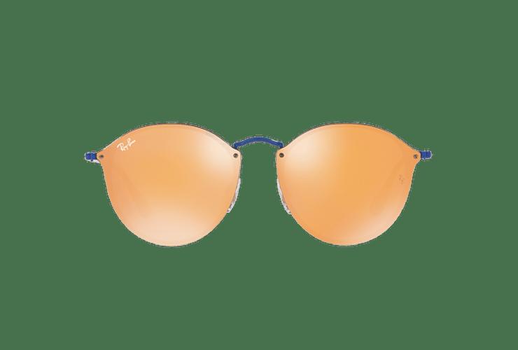 Ray Ban Blaze Round Blue lente Dark Orange Mirror Gold cod. RB3574N 90387J 59 - Image 12