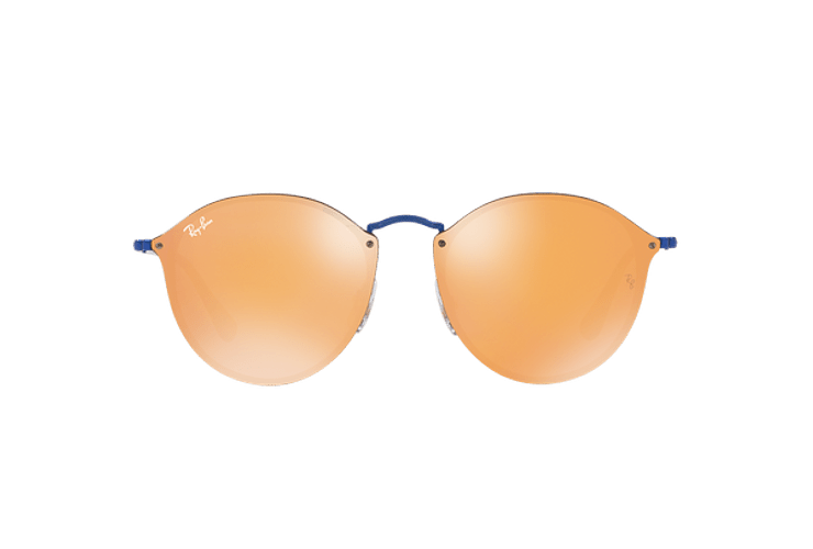 Ray Ban Blaze Round Blue lente Dark Orange Mirror Gold cod. RB3574N 90387J 59 - Image 12