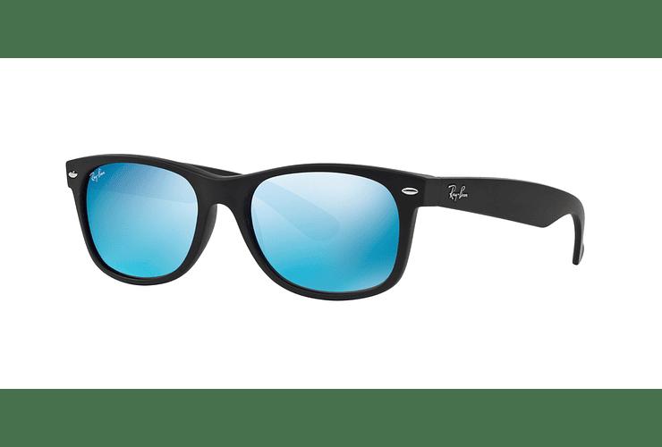 Ray Ban New Wayfarer Rubber Black lente Blue Mirror cod. RB2132 622/17 55 - Image 1