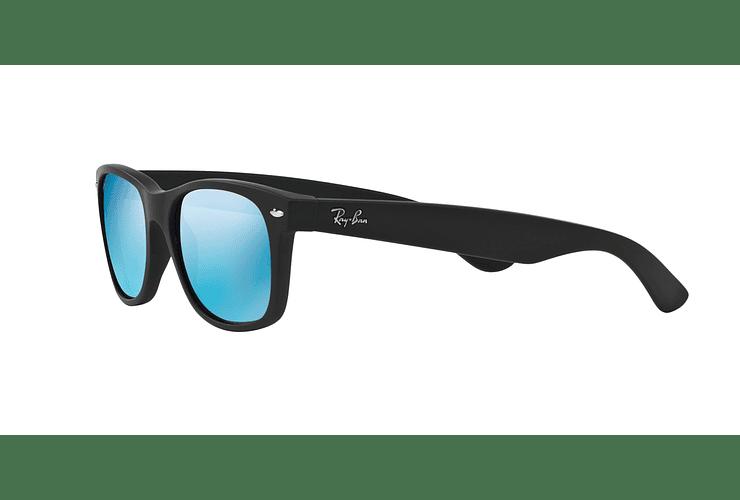 Ray Ban New Wayfarer Rubber Black lente Blue Mirror cod. RB2132 622/17 55 - Image 2