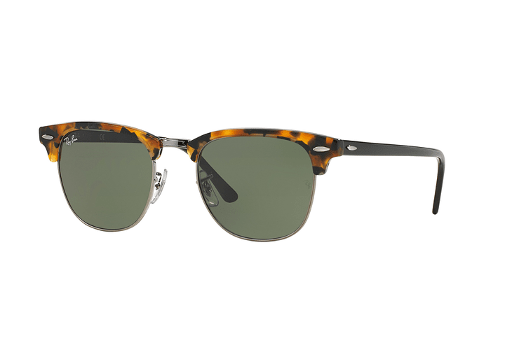 Ray Ban Clubmaster Spotted Black Havana lente Green cod. RB3016 1157 49 - Image 1