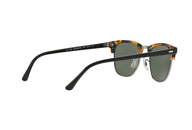 Ray Ban Clubmaster Spotted Black Havana lente Green cod. RB3016 1157 49 - Image 8