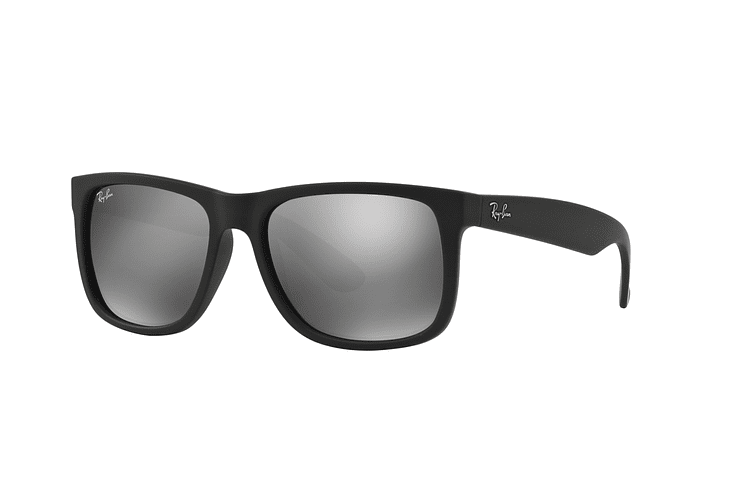 Ray Ban Justin Rubber Black lente Mirror Silver cod. RB4165 622/6G 54 - Image 1