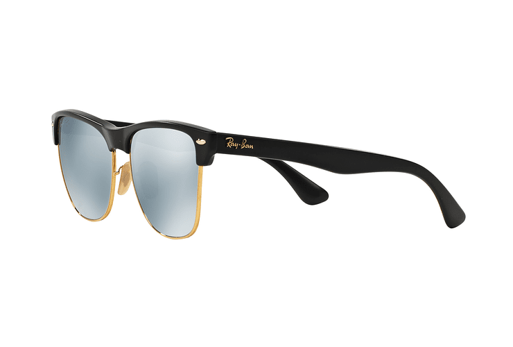Ray Ban Clubmaster Oversized Shiny Black lente Silver Mirror cod. RB4175 877/30 57 - Image 2