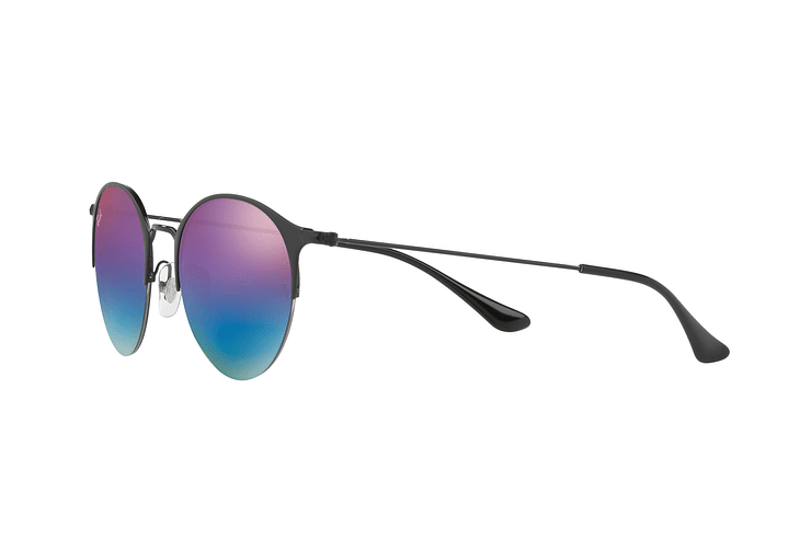 Ray Ban Round RB3578 Black lente Mirror Blue Gradient cod. RB3578 186/B1 50 - Image 2
