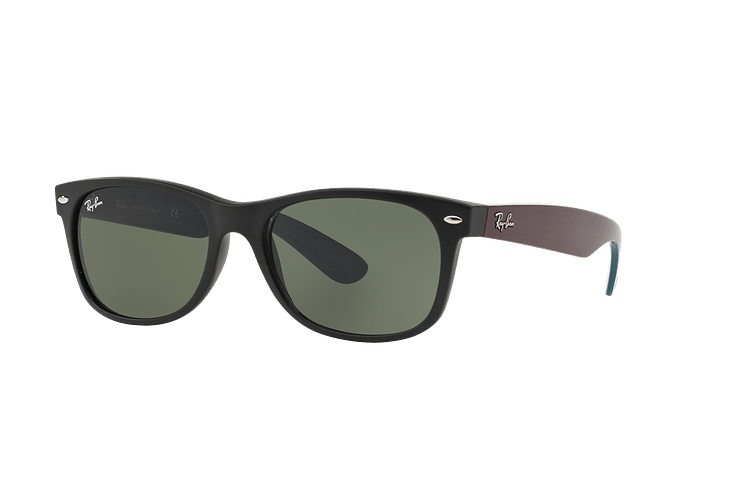Ray Ban New Wayfarer Matte Black lente Green cod. RB2132 6182 55 - Image 1