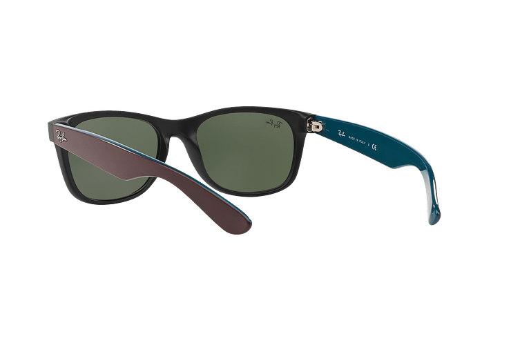 Ray Ban New Wayfarer Matte Black lente Green cod. RB2132 6182 55 - Image 5
