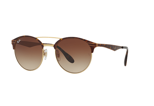 Ray Ban Round RB3545 Gold / Top Havana lente Brown Gradient cod. RB3545 900813 54