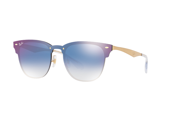 Ray Ban Blaze Clubmaster Brusched Gold lente Blue Mirror red cod. RB3576N 043/X0 47 - Image 1