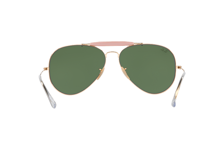 Ray-Ban Outdoorsman II Gold lente Crystal Green cod. RB3029 L2112 62 - Image 6