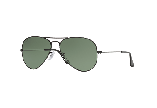 Ray Ban Aviador Matte Black lente Green Polarized cod. RB3025 W3361 58