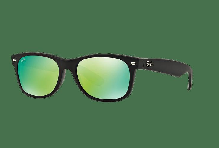 Ray Ban New Wayfarer Rubber Black lente Green Mirror cod. RB2132 622/19 55 - Image 1